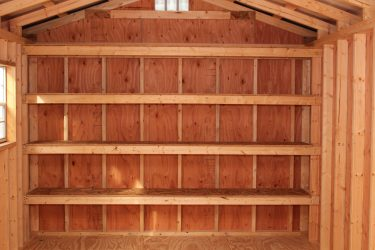 storage shed options 16 inch shelves