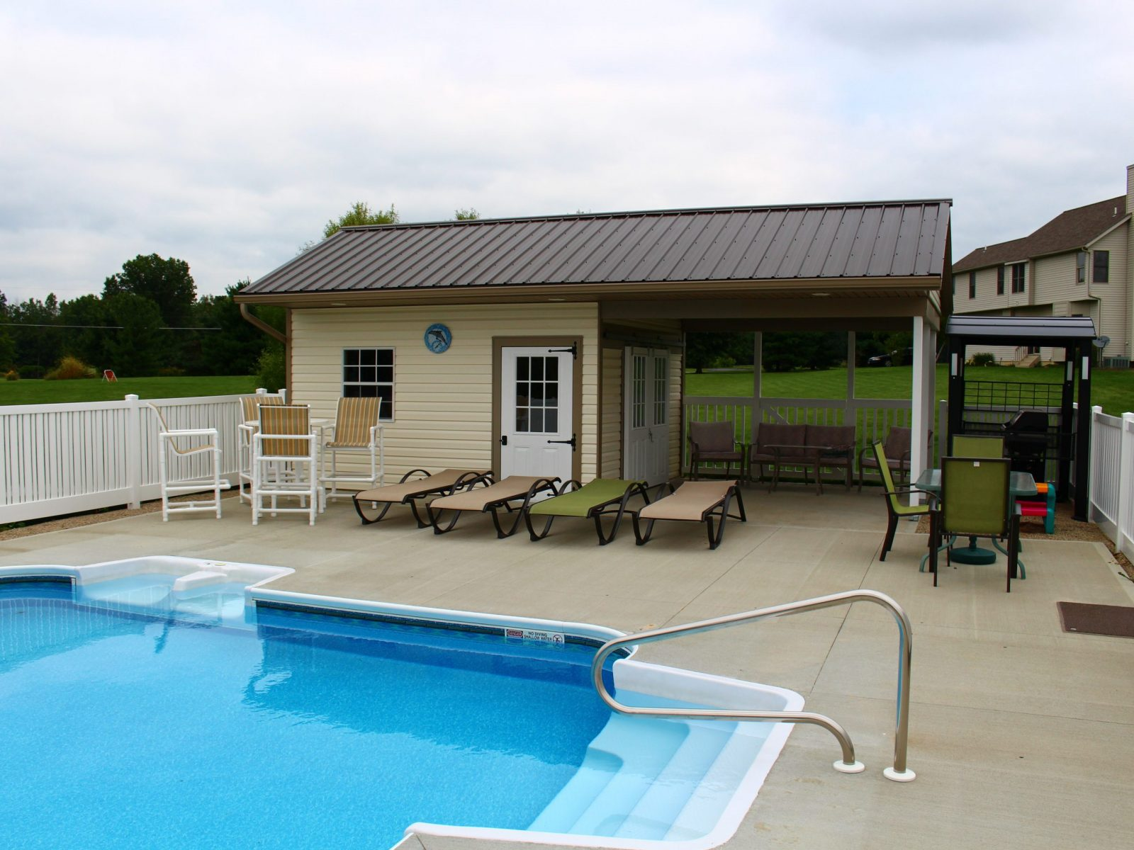 custom poolhouse shed with porch for sale central ohio