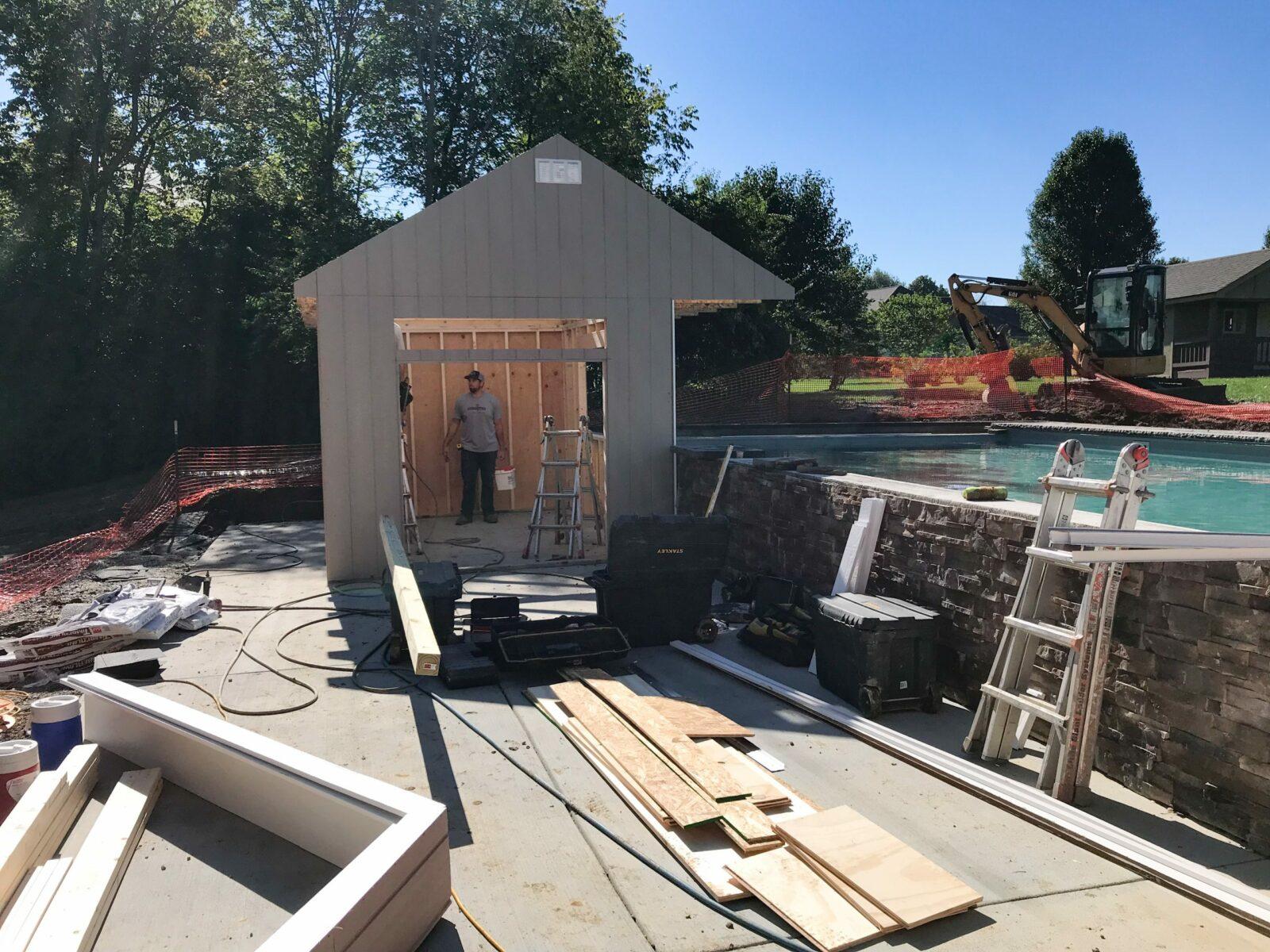 on site build prefab pool shed near columbus ohio