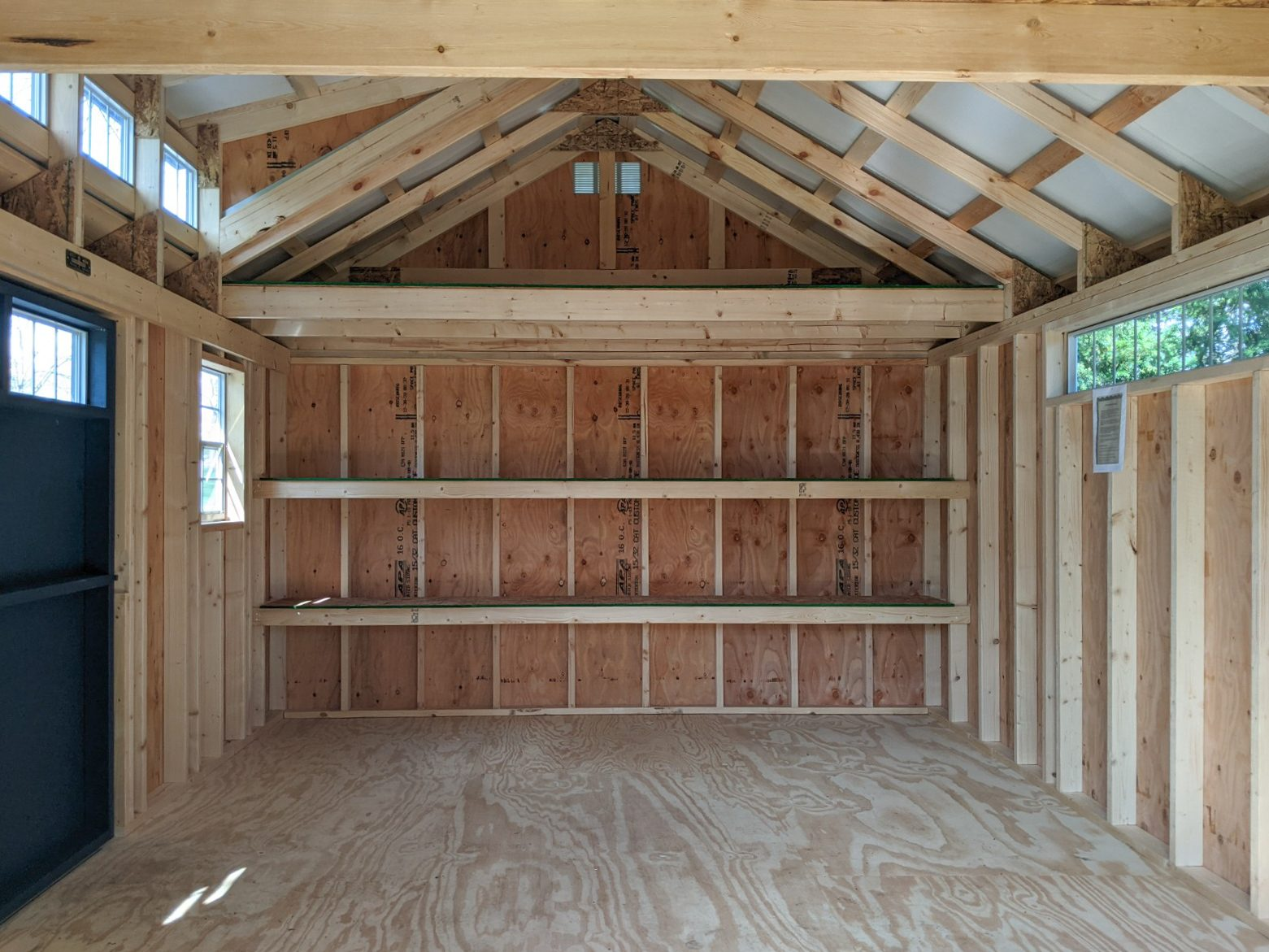 unfinished interior of a prefab cabin