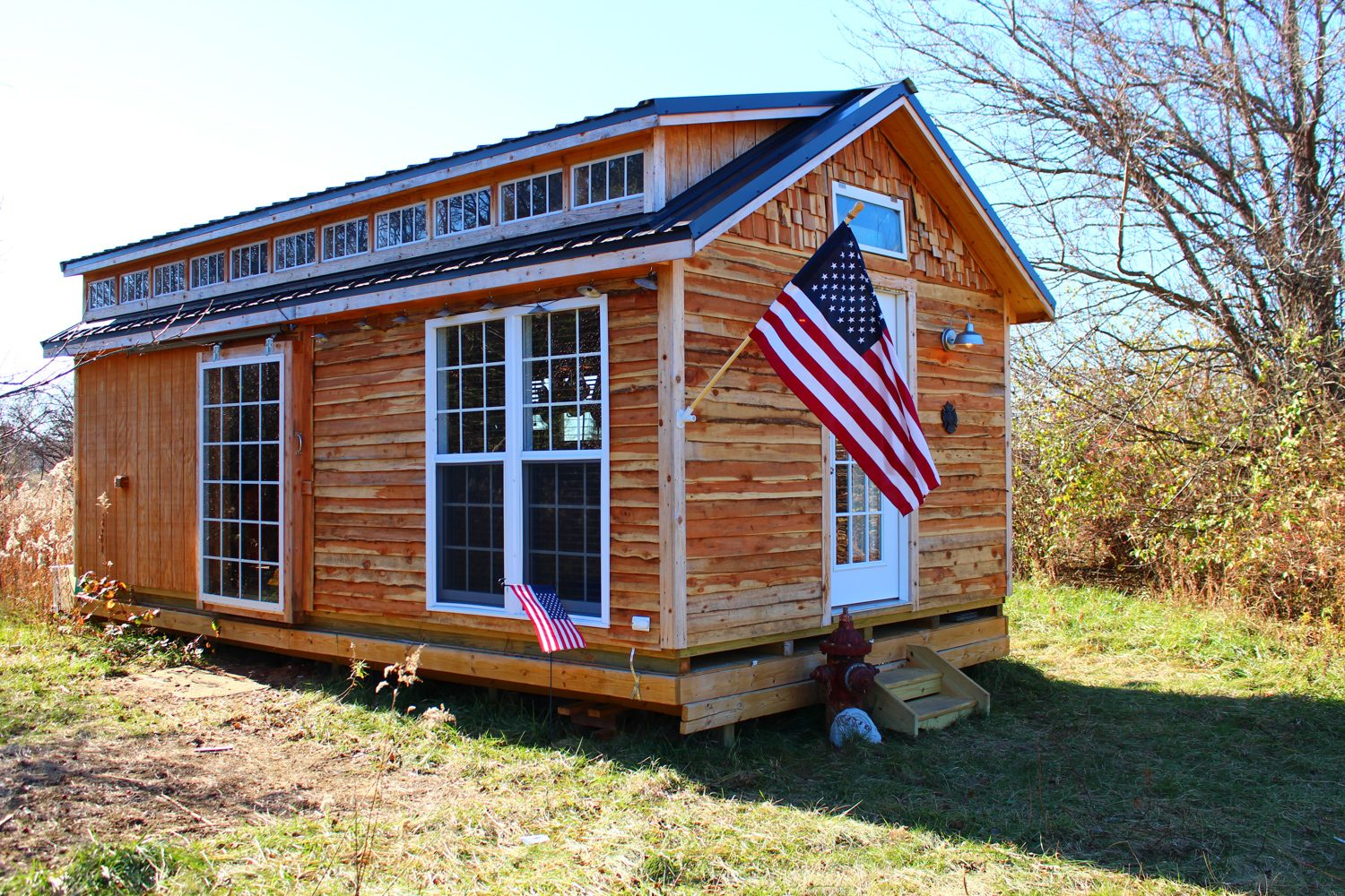 prefab cabin shed shell used as tiny home in dayton ohio