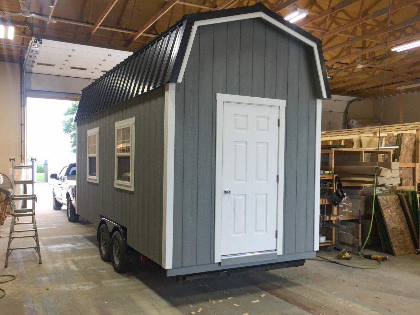 custom tiny home prefab cabin shell built on trailer in ohio