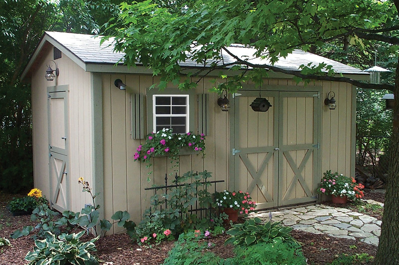 lovely garden shed with flower box for sale in central ohio