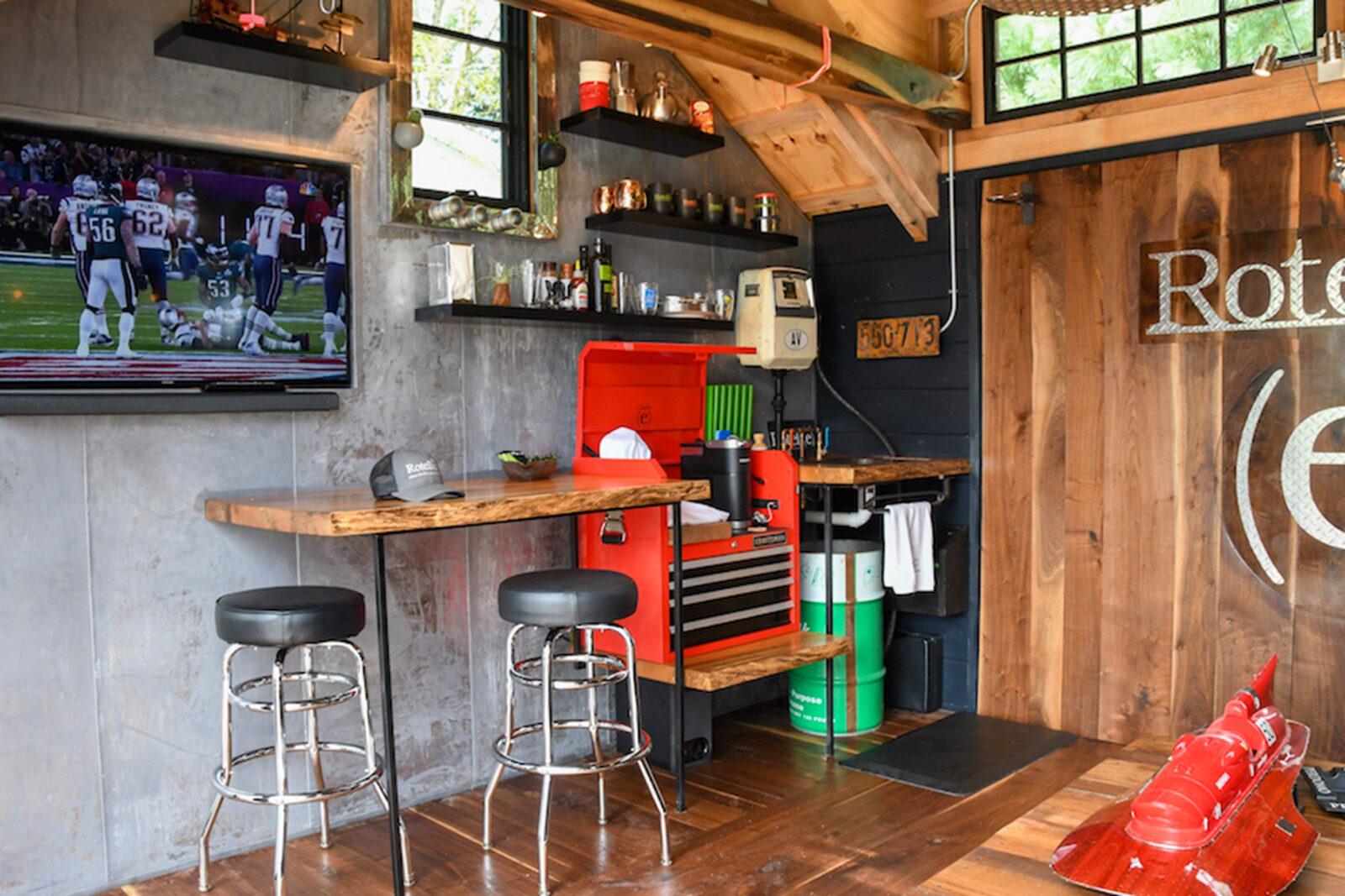 sports themed man cave shed idea near dayton ohio